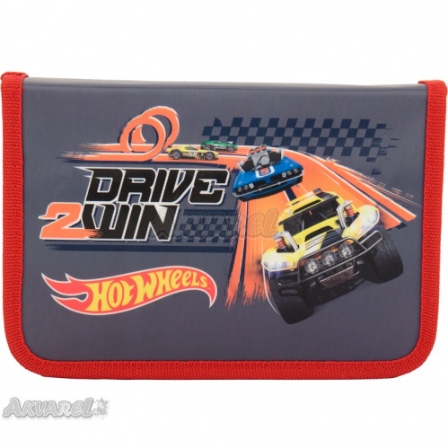 Пенал без напол. 621 Hot Wheels-2, Kite HW17-621-2